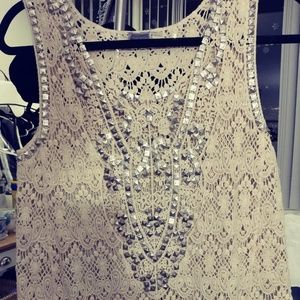 Cream lacy top with studs size small, never worn